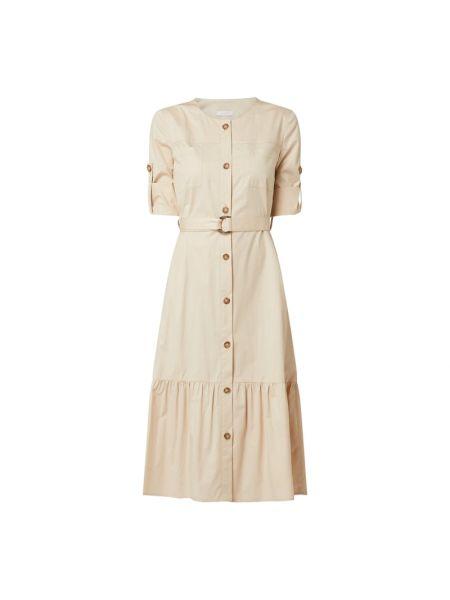 Lniana biała sukienka rozkloszowana Riani