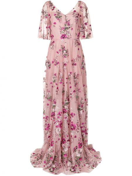 Розовое вечернее платье из фатина с открытой спиной с вышивкой Marchesa Notte