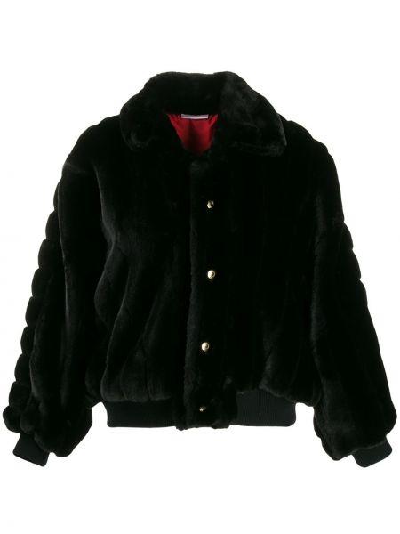 Черная длинная куртка из искусственного меха Gcds