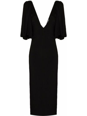 Черное платье миди с V-образным вырезом Rejina Pyo