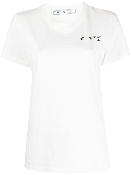 Bawełna koszula krótkie rękawy okrągły Off-white