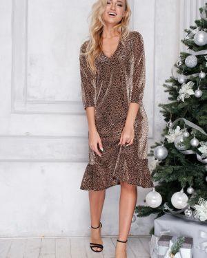 Платье мини леопардовое с V-образным вырезом Leleya
