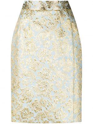 Шелковая синяя с завышенной талией юбка карандаш Dolce & Gabbana