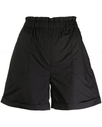 Хлопковые черные с завышенной талией шорты Woolrich