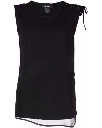 Czarna bluzka bez rękawów asymetryczna Dkny