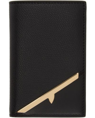 Skórzany czarny etui na klucze prążkowany z gniazdem Fendi