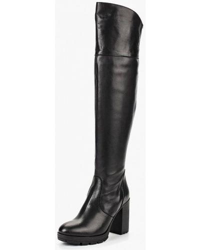Черные ботфорты кожаные Lamania