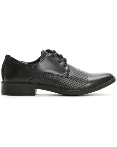 Czarne półbuty eleganckie materiałowe Multu