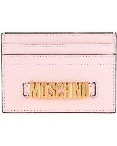 Кожаная ключница - розовая Moschino