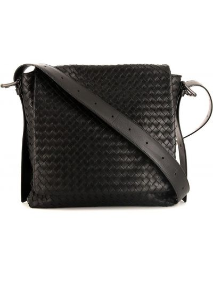 Черная парусиновая сумка на плечо Bottega Veneta Pre-owned