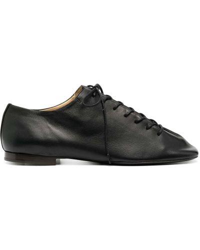 Мягкие кожаные черные пинетки на шнурках Lemaire