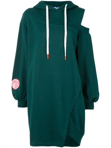 Зеленое платье на одно плечо с капюшоном с нашивками Sjyp