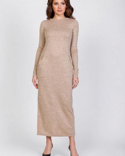 Бежевое трикотажное вязаное платье Magnet