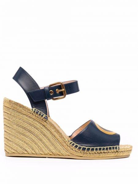 Sandały skórzane na obcasie - niebieskie Gucci