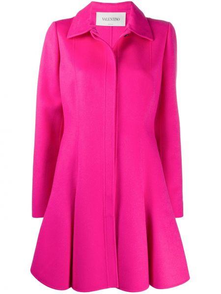 Шерстяное расклешенное розовое пальто на пуговицах Valentino