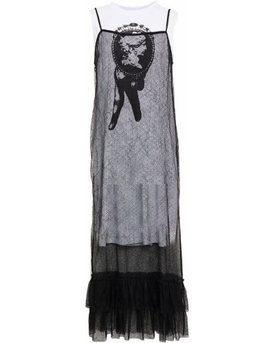 Трикотажное кружевное черное платье миди Mcq Alexander Mcqueen