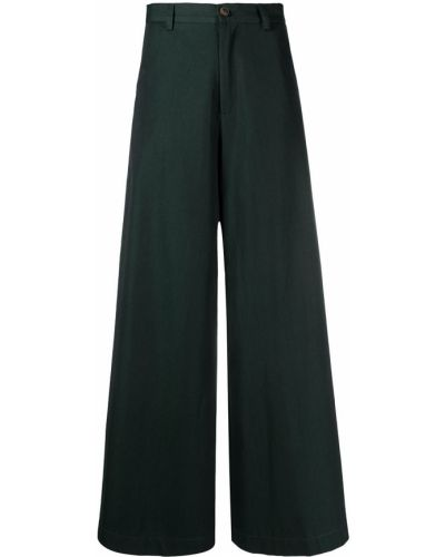 Хлопковые зеленые брюки свободного кроя SociÉtÉ Anonyme