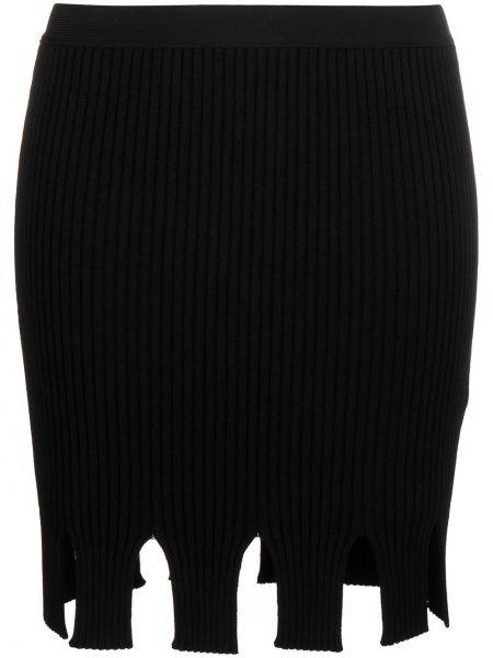 С завышенной талией трикотажная черная юбка Bottega Veneta