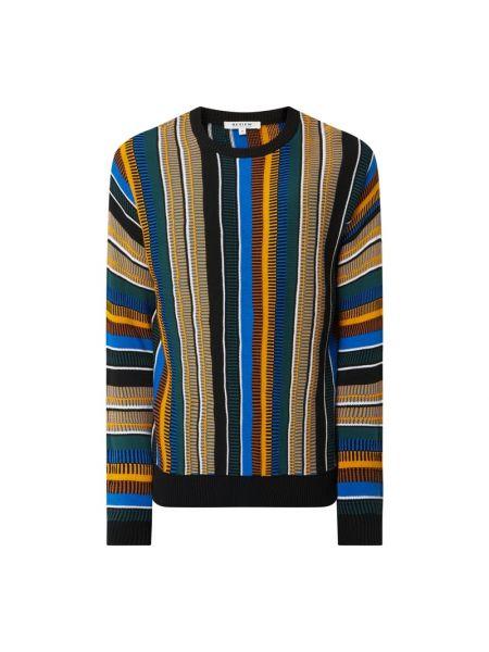 Niebieski sweter w paski bawełniany Review