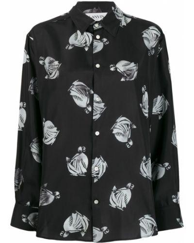 Рубашка с длинным рукавом белая в полоску Lanvin
