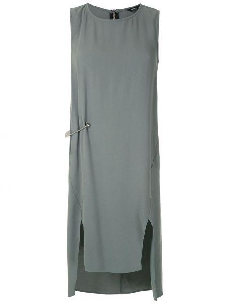 Прямое серое платье с разрезами по бокам без рукавов Uma   Raquel Davidowicz