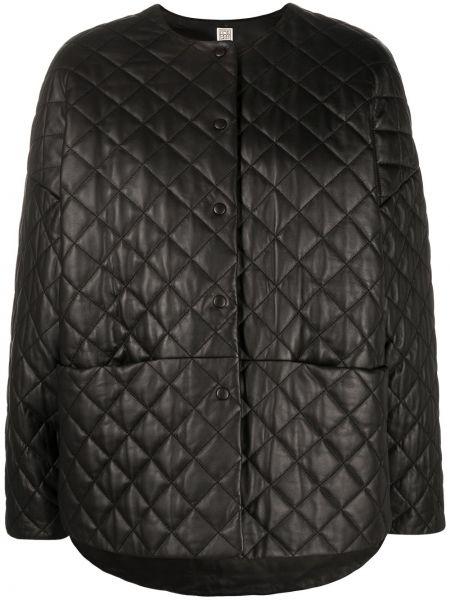 Черная стеганая кожаная длинная куртка Toteme