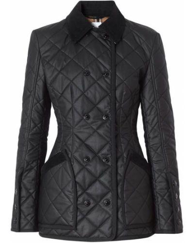 Czarna długa kurtka pikowana bawełniana Burberry
