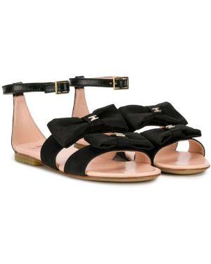 Открытые черные кожаные сандалии Elisabetta Franchi La Mia Bambina