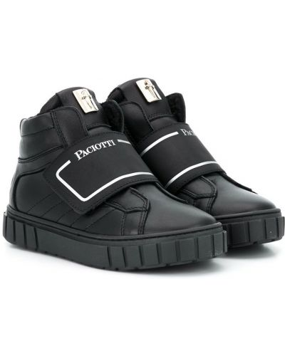Черные кроссовки с заплатками круглые с круглым носом Cesare Paciotti Kids