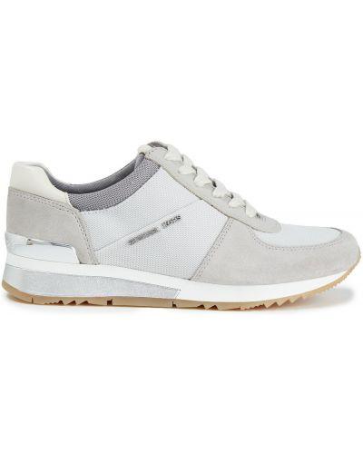 Серые кожаные кроссовки на шнурках Michael Michael Kors