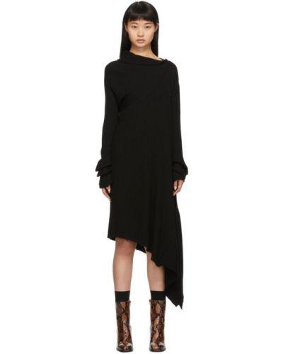 Wełniany asymetryczny czarny z rękawami długo sukienka Marques Almeida