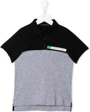 Черная асимметричная рубашка на пуговицах Aston Martin Kids