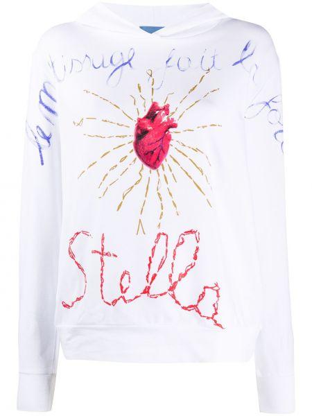 Хлопковая белая толстовка с капюшоном с длинными рукавами Stella Jean