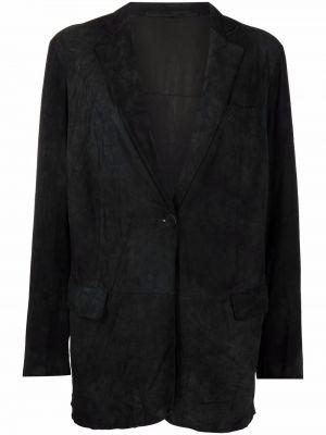 Черный кожаный удлиненный пиджак с карманами Salvatore Santoro