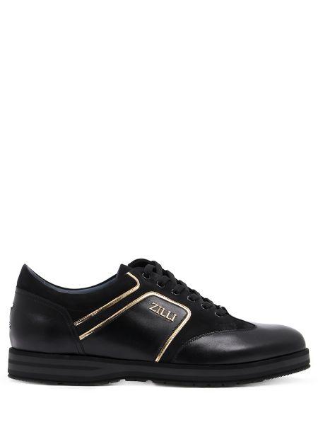 Кожаные комбинированные черные кроссовки на шнуровке Zilli