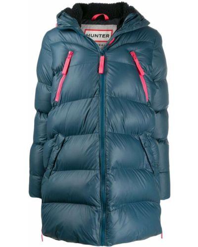 Прямое синее длинное пальто с капюшоном Hunter