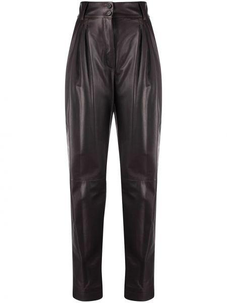 Кожаные коричневые брюки с карманами Dolce & Gabbana