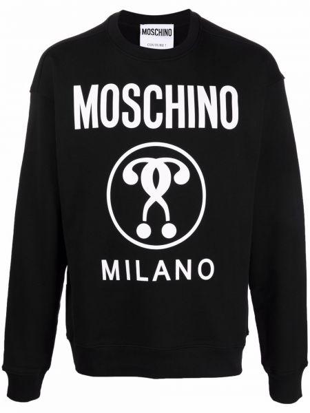 Черная толстовка с принтом Moschino