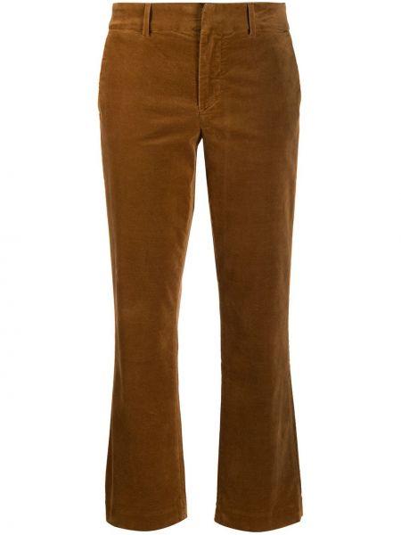 Хлопковые укороченные брюки с карманами узкого кроя на молнии 7 For All Mankind