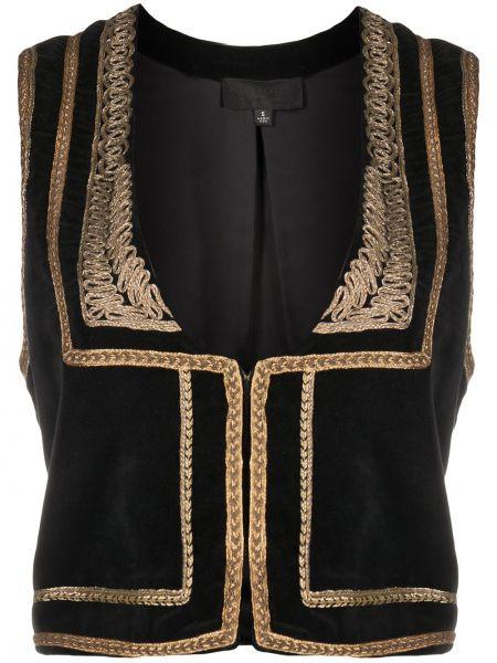 Хлопковый черный пиджак с вышивкой с вырезом Nili Lotan