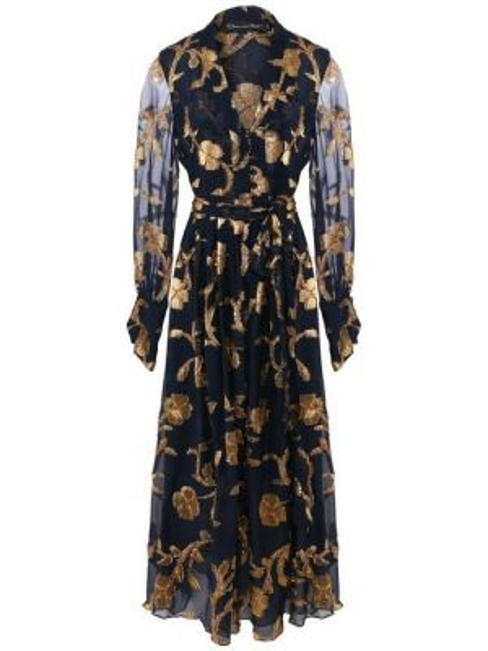 Платье с поясом с декольте с цветочным принтом Oscar De La Renta