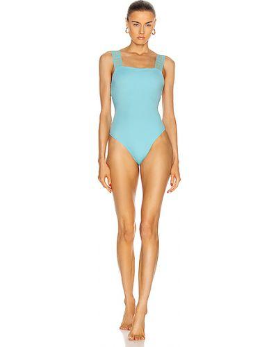 С ремешком синий слитный купальник на бретелях Versace