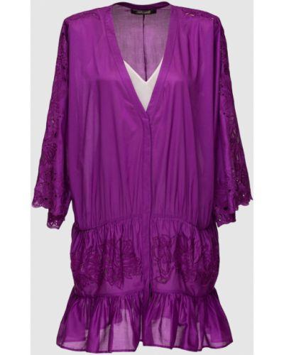 Фиолетовое платье мини Roberto Cavalli