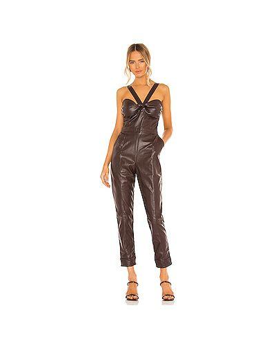 Коричневый кожаный комбинезон с карманами Kendall + Kylie