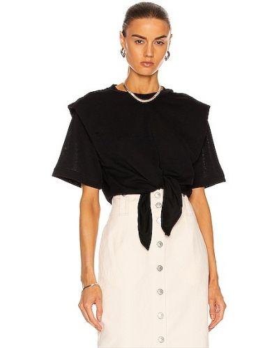 Czarna koszulka prążkowana Isabel Marant