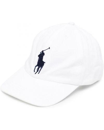 Хлопковая белая кепка с вышивкой Ralph Lauren Kids