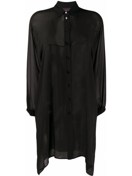 Черная классическая блузка с длинным рукавом прозрачная с воротником Talbot Runhof