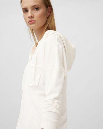 Biały bawełna t-shirt z kapturem Marc O Polo