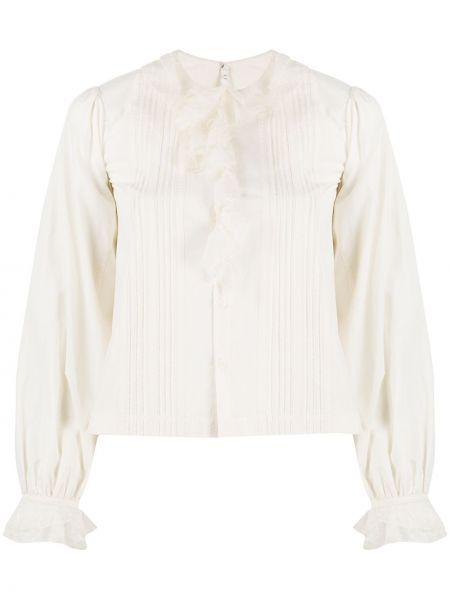 Блузка с длинным рукавом с оборками свободного кроя с вырезом на пуговицах Renli Su