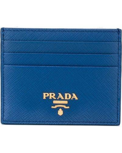 Синяя визитница кожаная Prada